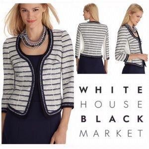 WHBM Blue & White Stripe Tweed Jacket